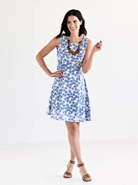 lazy daisy dress blue mata traders ethical fashion