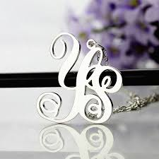 Personalized Monogram Necklace Sterling Silver 2 Initial Monogram Necklace