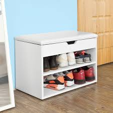 Bench With Shoe Storage Sobuy Fsr25 W Wooden Shoe Cabinet 2 Tiers Shoe