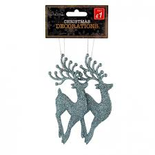Reindeer Decoration 2 Pack Glitter Reindeer Decoration Blue Poundstretcher