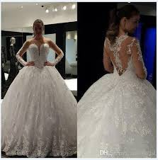 wedding dresses fluffy sheer gown wedding dresses with sleeves illusion