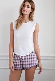 ruffled hem plaid pj shorts intimates lounge 2000141338