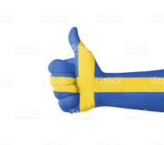Flag Sweden Hand With Thumb Up Sweden Flag Painted Stock Photo Istock