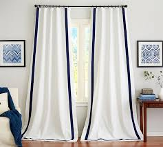 White Curtains With Blue Trim Decorating Drape Pottery Barn