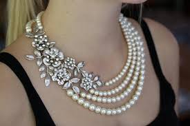 pearl necklace wedding jewelry images Bridal statement necklace wedding pearl necklace vintage flowers jpg