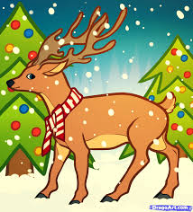how to draw a christmas deer step by step christmas stuff