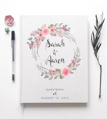 wedding guestbook custom floral wreath wedding guest book stationery paper goods