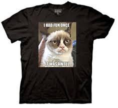 Grumpy Cat Meme I Had Fun Once - adult black internet meme grumpy cat i had fun once it was awful t