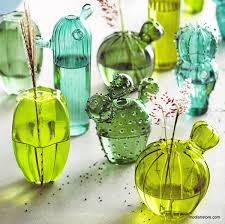 roost cactus blown glass vases set of 5 modish store