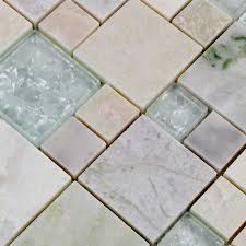Marble Mosaic Floor Tile Wholesale Grey Stone With White Crystal Mosaic Tile Sheet Square