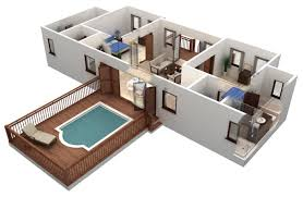 simple house plan with 2 bedrooms 3d interior design