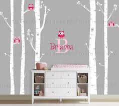 home design birch tree wall decal with owl farmhouse expansive