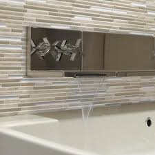 Home Depot Decorative Tile Smart Tiles Capri Taupe 9 88 In W X 9 70 In H Peel And Stick