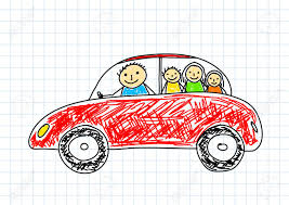 cartoon car drawing drawing of red car on squared paper royalty free cliparts vectors