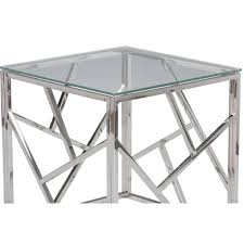 coffee table mercer stainless steel silver square glass coffee