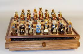 cats dogs chess set walnut chess piece storage board