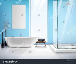 modern light bathroom realistic interior design stock vector modern light bathroom realistic interior design with white bath shower cabin decorations and accessories vector illustration
