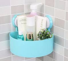 plastic bathroom wall corner shelf suction cup rack storage holder