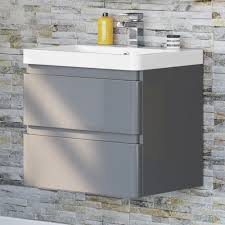 600mm denver ii gloss grey built in wall hung basin drawer unit