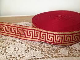 Home Decor Trims 1 Yard Red Gold Greek Key Trim Greek Key Jacquard Trim Greek Key