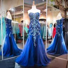 luxurious mermaid long prom dress royal blue sweetheart with