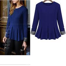 royal blue blouse top peplum top cobalt blue