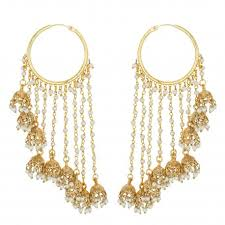 jhumka earrings mayank jewels gold plated polki and pearl jhumka earrings for