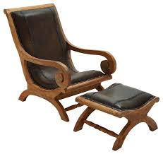 Wooden Armchairs Timeless Wood Leather Chair Ottoman Set Of 2 Traditional