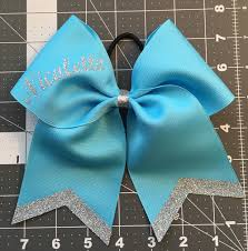 white and blue bows white personalized bow with name cheer bows softball bows baby