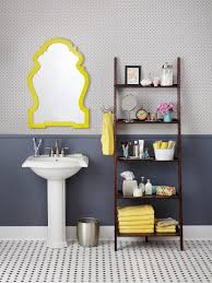 bathroom dark finished wood ladder shelf idea for set bathroom