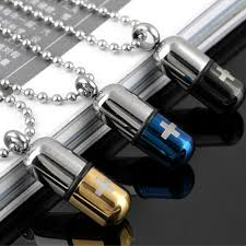 allergy free jewelry necklaces pendants stainless steel capsule pendant necklace for
