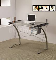 modern glass desk with drawers office office desk glass top glass top silver tone metal base