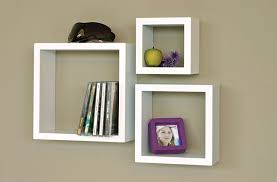 Square Floating Shelves by Floating Cubby Shelves In White Also Square Shaped Design