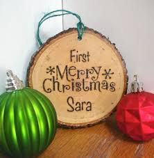 custom wood christmas ornament rustic ornament first christmas