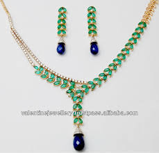 gemstone necklace sets images Marquise stone emerald and sapphire drop gold necklace set design jpg