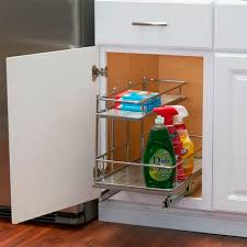 the kitchen sink cabinet organization sliding cabinet organizer chrome and faux concrete great