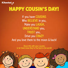 our s day together every year july 24th is celebrated as cousin s day this day is