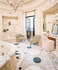 french country bathroom decor style with multi patterned floor and