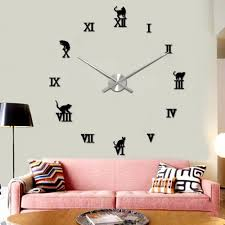 popular cat clocks wall buy cheap cat clocks wall lots from china 2017 new hot diy large wall cat clock 3d mirror surface sticker home decor art wholesale