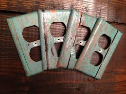Turquoise Wood Grain Light Switch And Outlet Covers Rustic