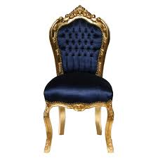 dining room chairs gold leafed solid wood navy blue velvet luxury