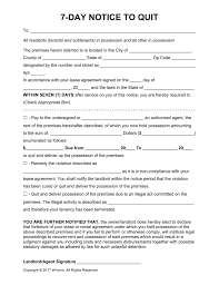 Intent To Vacate Letter Template by Free Seven 7 Day Eviction Notice Template Pdf Word Eforms