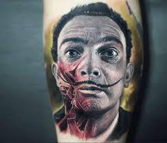 salvador dali portrait tattoo by paul acker no 11