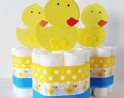 Yellow Duck Baby Shower Decorations Rubber Duck Diaper Cakes Mini Diaper Cake Rubber Ducky Baby
