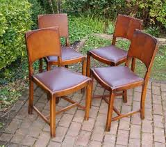 Vintage Oak Dining Chairs Vintage Oak 1950 U0027s 1960 U0027s Art Deco Style Dining Chairs X 4 Can