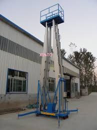 mitsubishi electric elevator logo 260kgx14m 4 mast pole aerial working platform aluminum alloy work