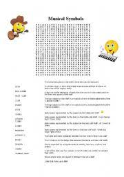 english worksheets music symbols word search