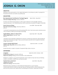 Nurse Aide Resume Objective Cna Resumes Examples Resume Example And Free Resume Maker