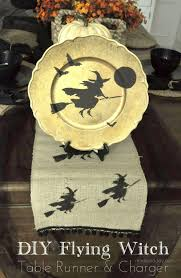 flying broom witch table runner plate charger burlap halloween