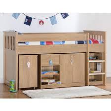 Seconique Merlin Study Mid Sleeper In Oak Effect Furniture - Mid sleeper bunk bed